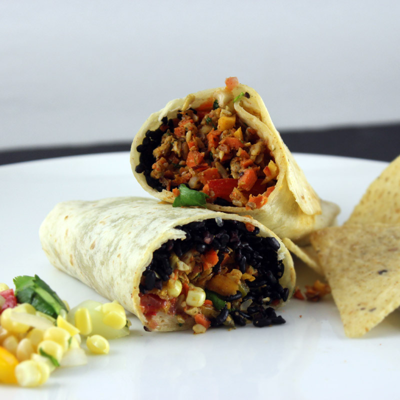 Vegan Burritos with Raw Vegan Taco Meat