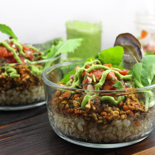 Taco Salad with Raw Vegan Taco Meat